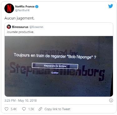 Netflix commentaire en retweet